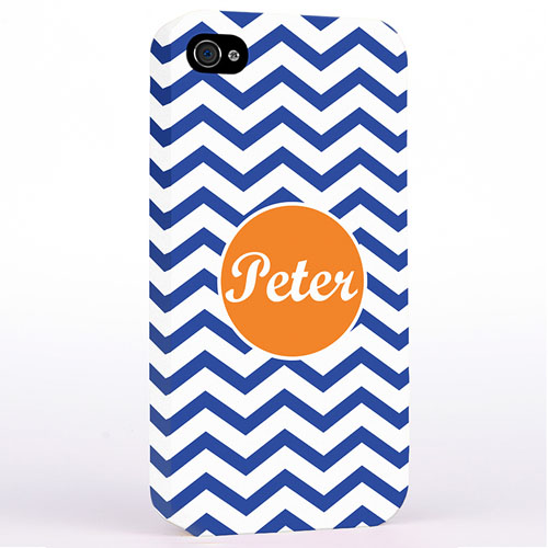 Personalized Navy Chevron iPhone 4 Hard Case Cover