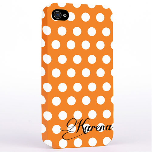 Personalized Orange Polka Dots Background iPhone 4 Hard Case Cover