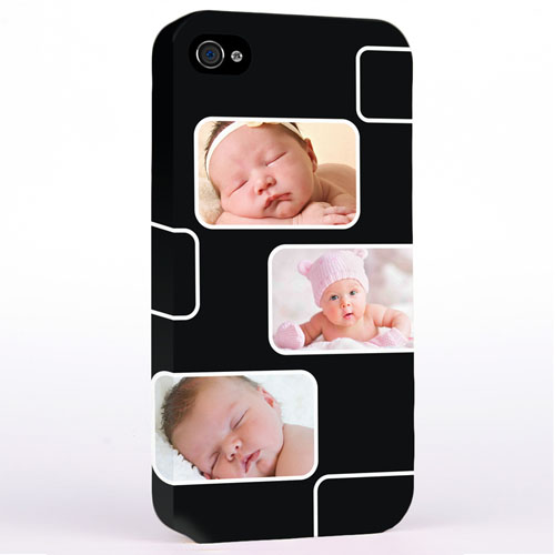 Personalized Black 3 Collage iPhone 4 Hard Case Cover