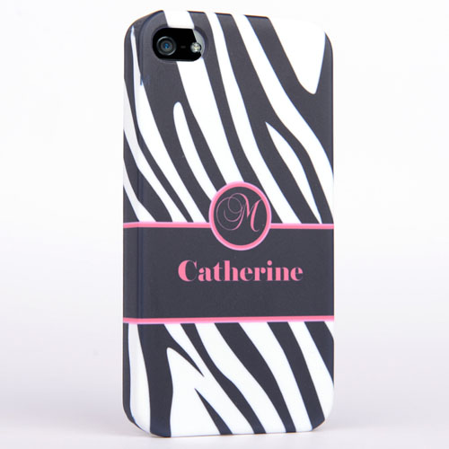 Personalized Zebra Pattern Monogrammedmed iPhone 4 Hard Case Cover