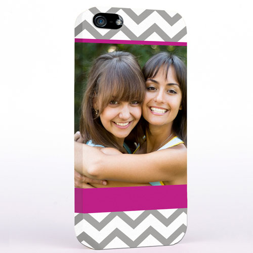 Personalized Grey & Hot Pink Chevron Photo iPhone 5 Case