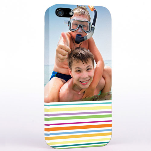 Personalized Colorful Stripes Photo iPhone Case