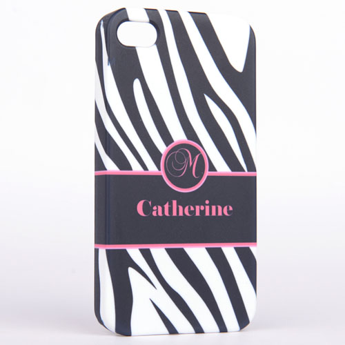 Personalized Zebra Pattern Monogrammedmed iPhone 5 Case