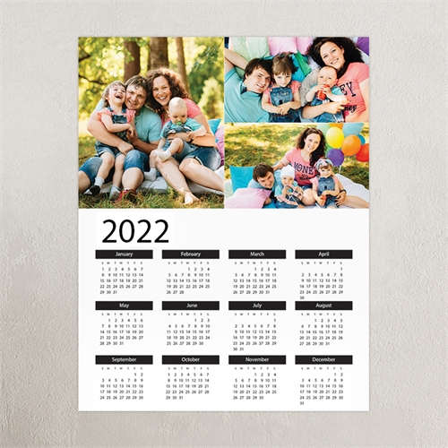 Personalized Calendar 2019 White Portrait Three Collage 11X14 Personalized Poster Calendar