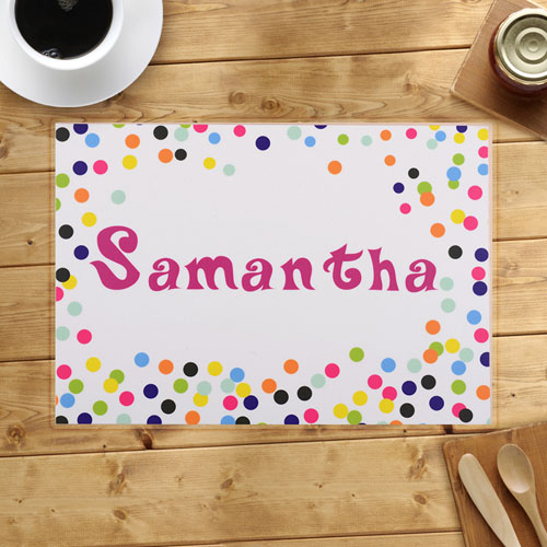 Personalized Colorful Confetti Dots Placemats