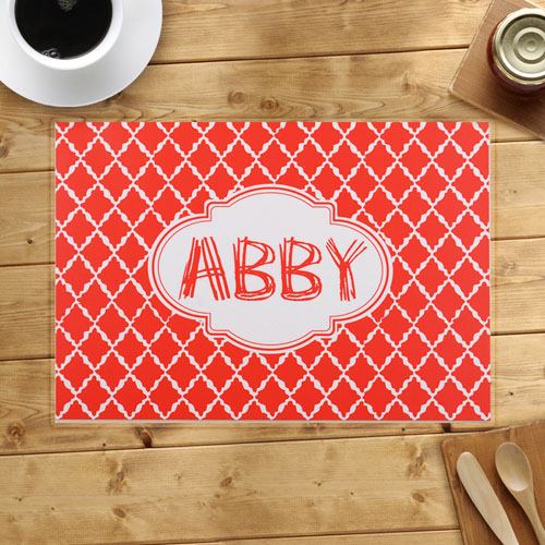 Personalized Quatrefoil Pattern Placemats