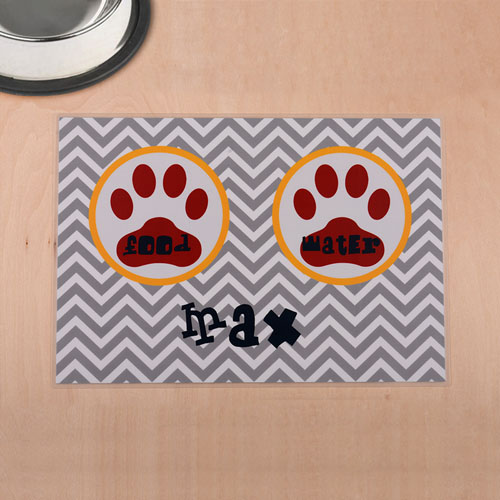 Personalized Grey Chevron Red Paw Print Pet Meal Mat