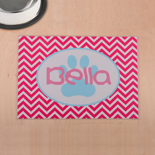 Personalized Fuchsia Chevron Aqua Paw Print Pet Meal Mat