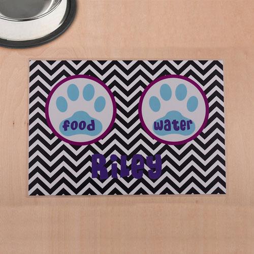 Personalized Black Chevron Aqua Paw Print Pet Meal Mat