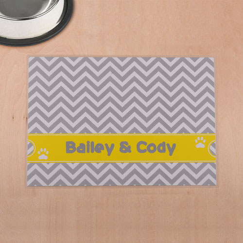Personalized Grey And Yellow Chevron Stripes Pet Meal Mat