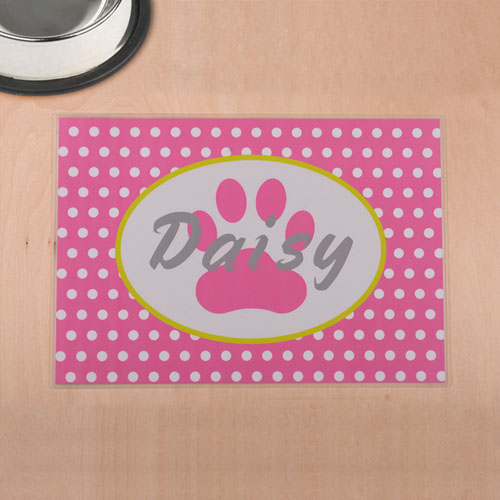 Personalized Pink Polka Dots And Paw Print Pet Meal Mat