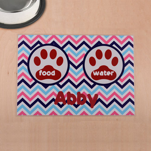 Personalized Colorful Chevron Red Paw Print Pet Meal Mat