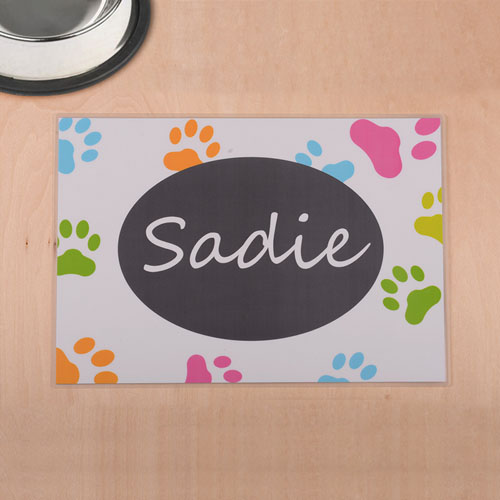 Personalized Colorful Paw Print And White Pet Meal Mat