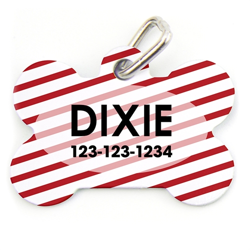 Red Stripe Pattern Bone Shape (Custom 1 Side) Personalized Dog Tag