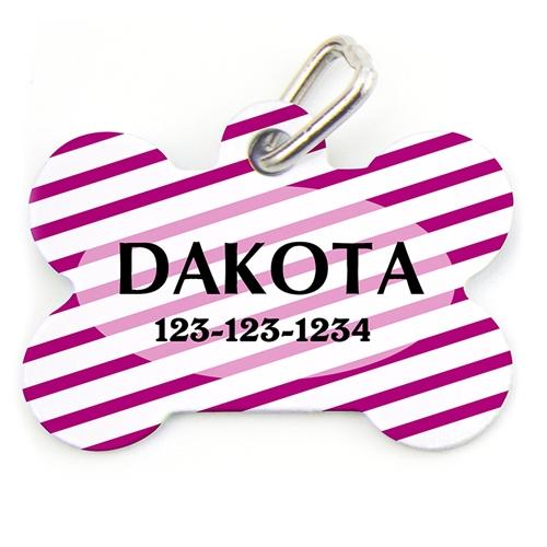 Purple Stripe Pattern Bone Shape (Custom 1 Side) Personalized Dog Tag