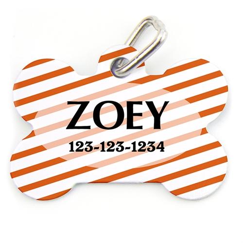Orange Stripe Pattern Bone Shape (Custom 1 Side) Personalized Dog Tag