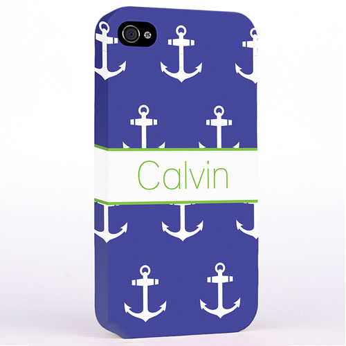 Personalized Navy And White Cute Anchors Hard Case Cover