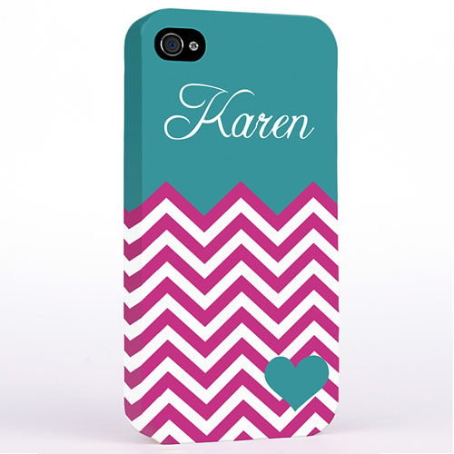 Personalized Aqua Turquoise Chevron Hard Case Cover