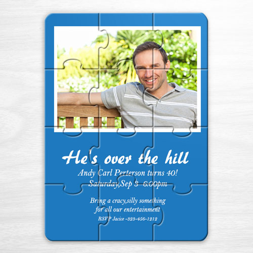 Personalized Blue Photo Birthday Puzzle Invite