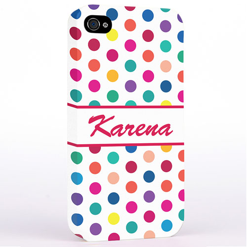 Personalized Red Colorful Polka Dots Hard Case Cover