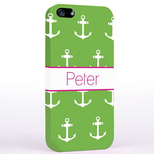 Personalized Lime And White Cute Anchors iPhone Case