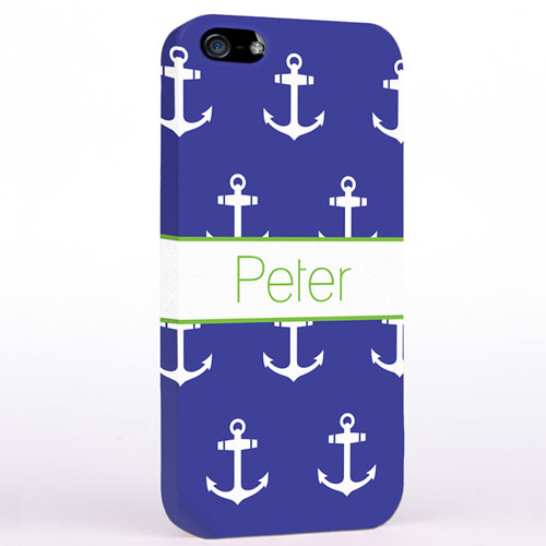 Personalized Navy And White Cute Anchors iPhone Case