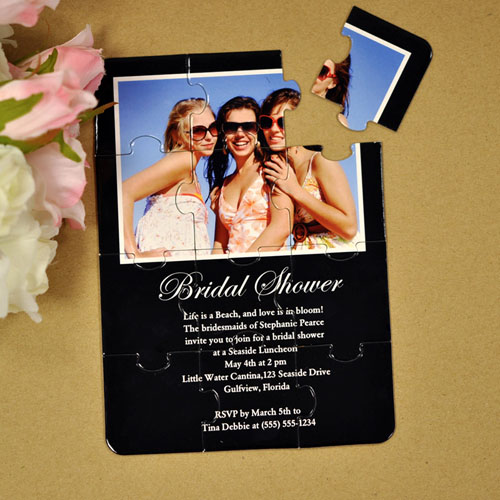 Personalized Black Bridal Shower Puzzle Invite