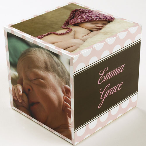 Polka Dots Baby Girl Birth Announcement Wood Photo Cube, 5 panels