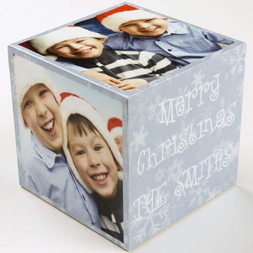 Merry Snowflake Christmas Wood Photo Cube, 5 panels