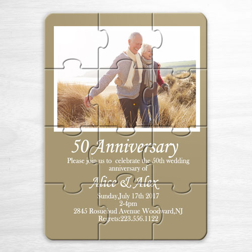 Personalized Gold Wedding Photo Puzzle Invite