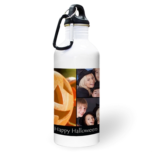 Personalized Photo Black Three Collage Textbox Water Bottle