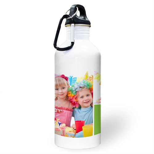 Personalized Photo Two Collage With Lime Textbox Water Bottle