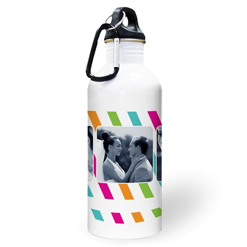 Personalized Photo Colorful Stripes Three Collage Textbox Water Bottle