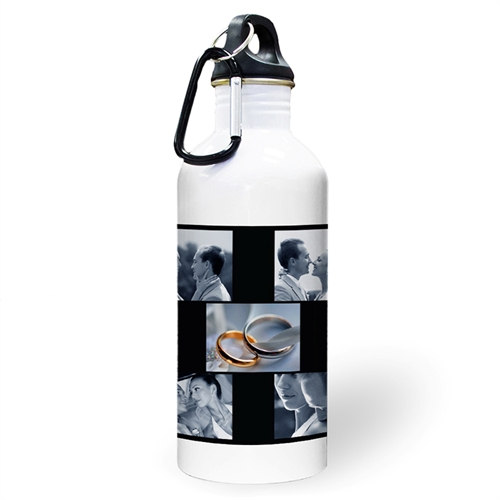 Personalized Photo Black Five Collage Water Bottle
