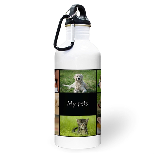 Personalized Photo Black Eight Collage Water Bottle