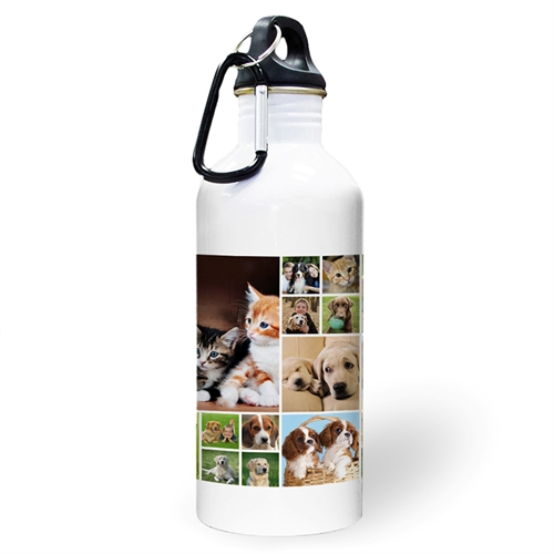 Personalized Photo White Eighteen Collage Water Bottle