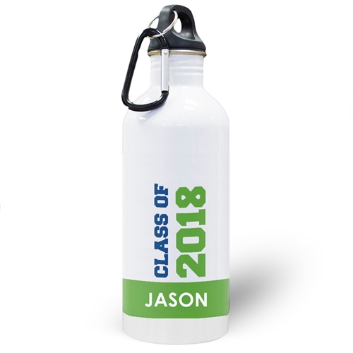 Personalized Photo Green Class Of 2018 Water Bottle