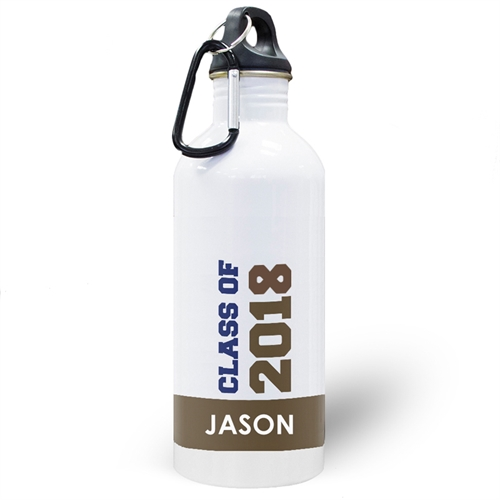 Personalized Photo Chocolate Class Of 2018 Water Bottle