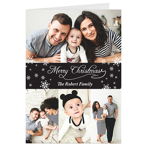 Custom black 4 photo collage christmas greeting card black 4 collage personalized christmas greeting card m4hsunfo