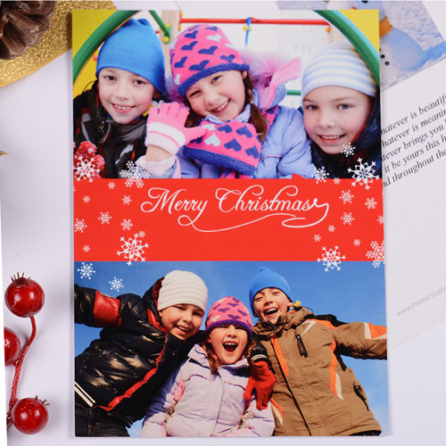 Personalized Christmas Red Two Collage Invitation Card