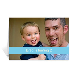 Baby Blue Photo Birthday Cards, 5x7 Folded Causal