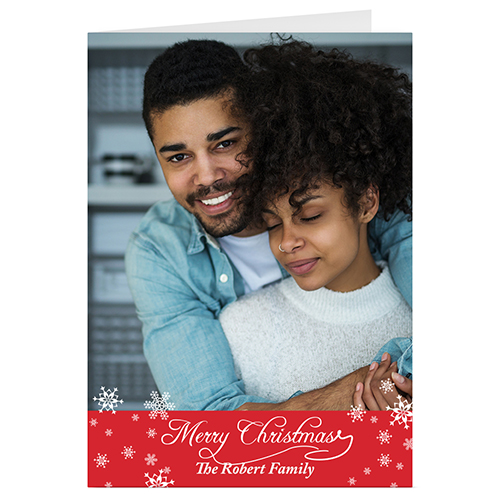 Simple Snow Red Personalized Christmas Greeting Card