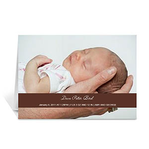 Chocolate Photo Baby Cards, 5x7 Folded Causal
