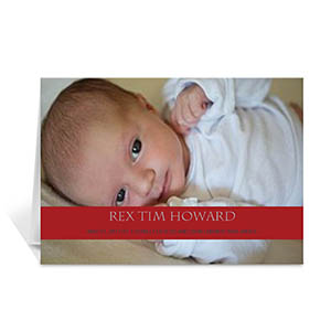 Classic Red Photo Baby Cards, 5x7 Folded Causal