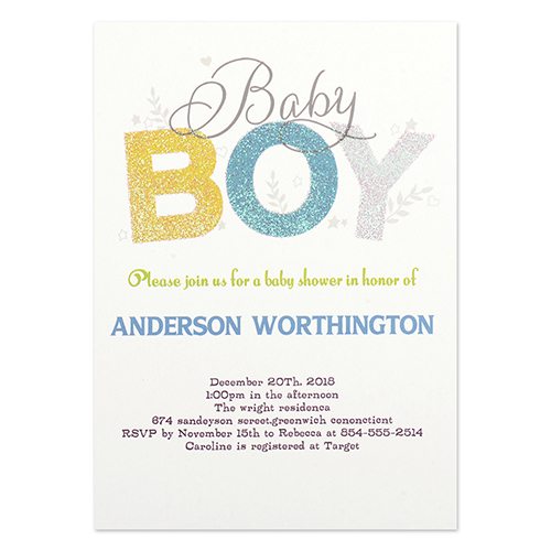 Personalized Baby Boy Party Invitation Card