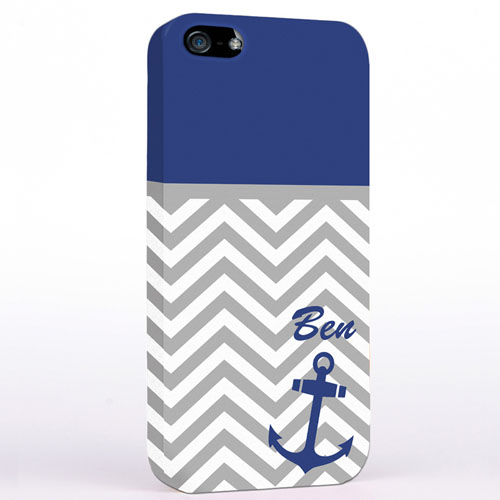 Personalized Blue Anchor Grey Chevron iPhone Case