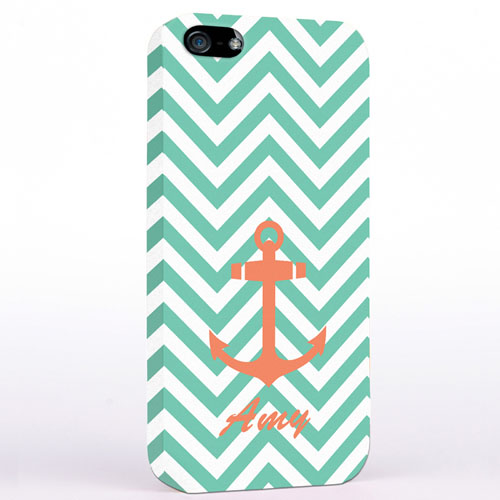 Personalized Orange Anchor Aqua Chevron iPhone Case