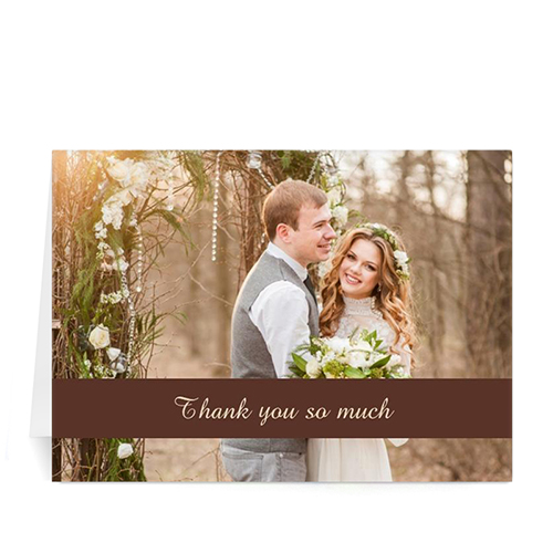 Personalized Chocolate Photo Wedding Cards, 5X7 Folded Causal