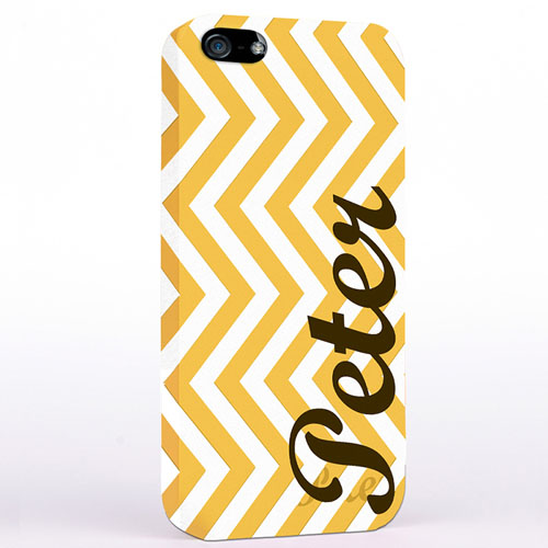 Personalized Yellow Chevron iPhone Case