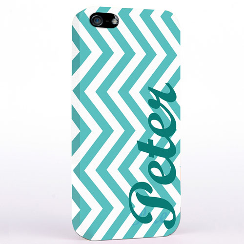 Personalized Aqua Chevron iPhone Case